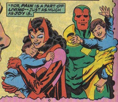 Superhero romance: Vision, Scarlet Witch and Family.